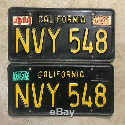 1963 California license plate pair NVY 548 YOM DMV clear sticker Ford Chevy 1964