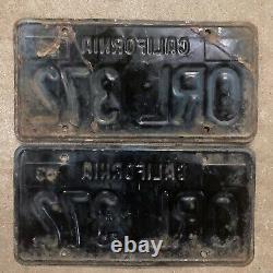 1963 California license plate pair ORL 372 YOM DMV clear sticker Ford Chevy 1964