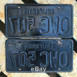 1963 California license plate pair OWC 507 YOM DMV clear sticker Ford Chevy 1964