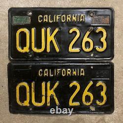1963 California license plate pair QUK 263 YOM DMV clear sticker Ford Chevy 1965