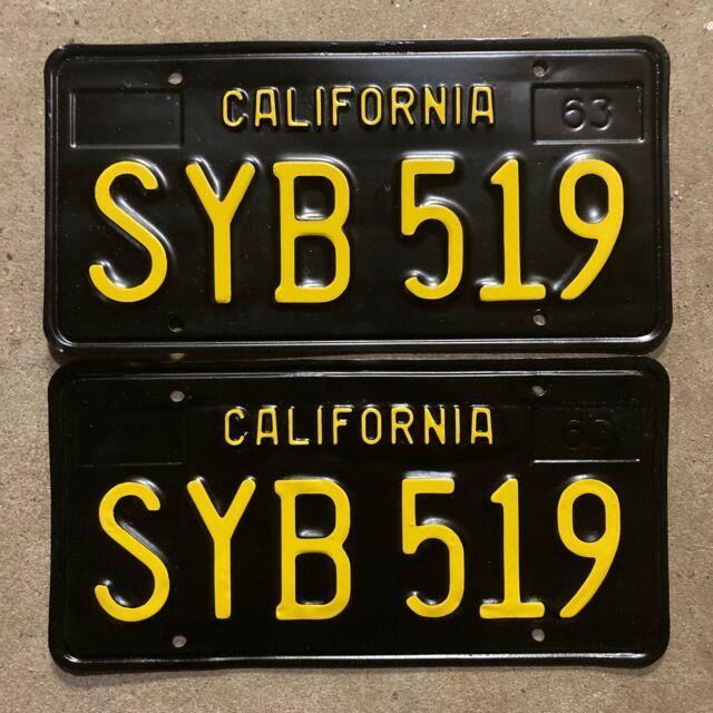 1963 California License Plate Pair Syb 519 Yom Dmv Clear Sticker Ford Chevy 1966