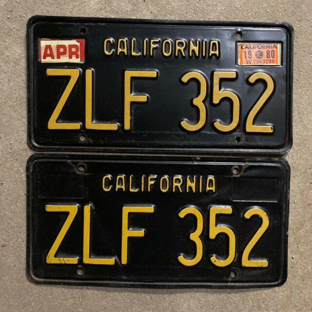 1963 California License Plate Pair Zlf 352 Yom Dmv Clear Sticker Ford Chevy 1969