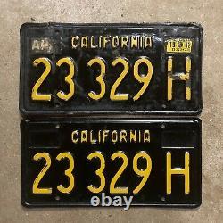 1963 California truck license plate pair 23329 H YOM DMV clear Ford Chevy 1969