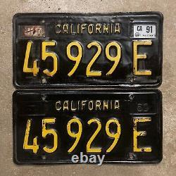 1963 California truck license plate pair 45929 E YOM DMV clear Ford Chevy 1968