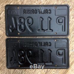 1963 California truck license plate pair P 11 984 YOM DMV clear sticker Ford