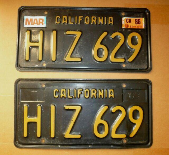 1963 Dmv Clear California 877 License Plate, Pair Hiz629