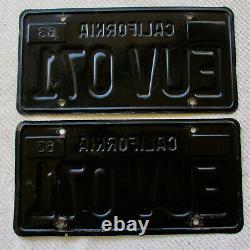 1963 PAIR of California Passenger License Plates # EUV 071, DMV Clear