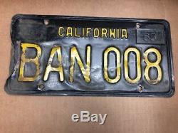1963 Pair DMV Clear Rare(california) Ban 008 License Plate-vintage-original