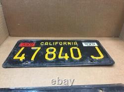 1963 Pair Truck DMV Clear (california) 47 840 J License Plate -vintage