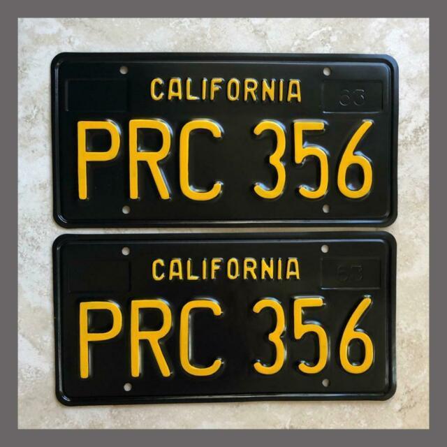 1963 Passenger Car Restored California License Plates Pair Dmv Clear Yom