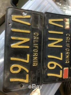 1963 california license plates. Black And gold. VIN 767