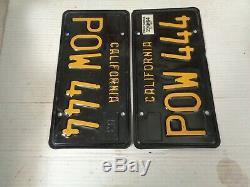 1964 California License Plate Pair, Car DMV Clear Original Rare Pow 444