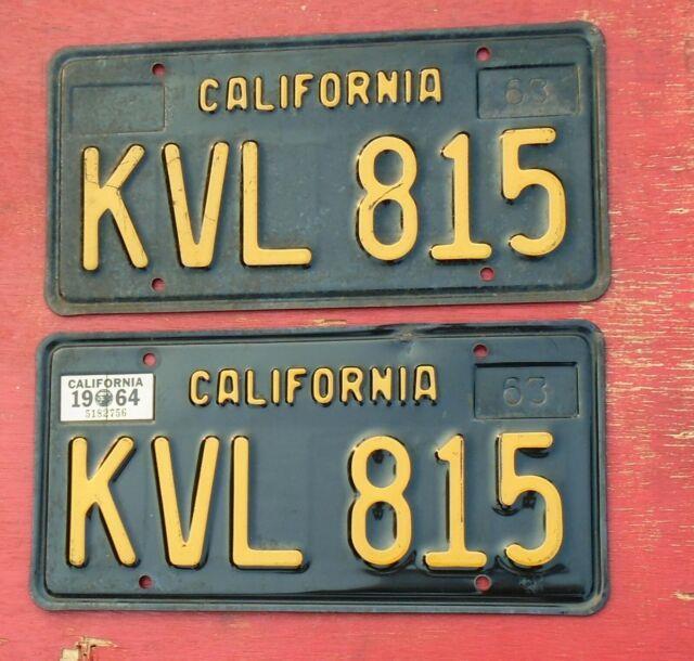 1964 California Original Pair Kvl 815 License Plates