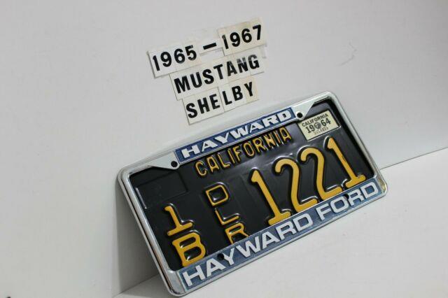 1965 Shelby Mustang Hi-perf Hayward Ford Calif Dealer License Plate & Frame Saac