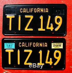 1966 1967 California Nice Original PAIR TIZ 149 License Plates
