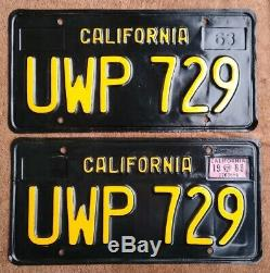 1968 California black license plates DMV clear UPW729