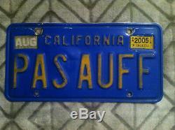 1969-86 California License Plate Set Personalized German Pas Auff Bmw Porsche