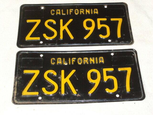 1969 California License Plate Pair, Car Dmv Clear Original Rare Zsk-957