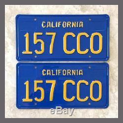 1970 1980 California Car License Plates Pair Restored DMV Clear YOM