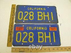 1970 70 1973 73 California Ca License Plate Tag Pair Set 028 Bhi Yom DMV +++