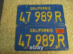 1970 California Commercial License Plates, 1973 Validation, DMV Clear, VG