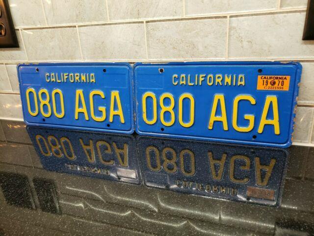 1970 California License Plate Pair 080 Aga Yom Dmv Clear Sticker-1970-1980
