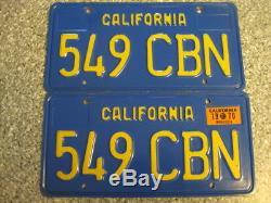1970 California License Plates, 1970 Validation, DMV Clear Guaranteed, NM