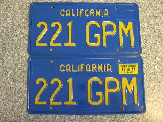 1970 California License Plates, 1972 Validation, Dmv Clear Guaranteed, Ex