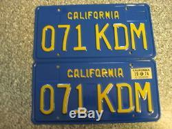 1970 California License Plates, 1974 Validation, DMV Clear Guaranteed, NM