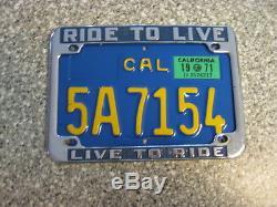 1970 California Motorcycle License Plate, 1971 Validation, DMV Clear Guaranteed