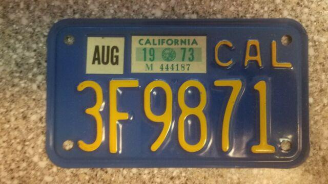 1970 California Motorcycle License Plate, 1973 Validation, Dmv Clear, Ex