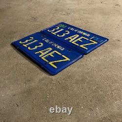 1970 California license plate pair 313 AEZ YOM DMV clear sticker Ford Chevy