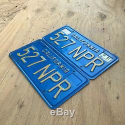 1970 California license plate pair 527 NPR YOM DMV clear sticker Volkswagen 1975
