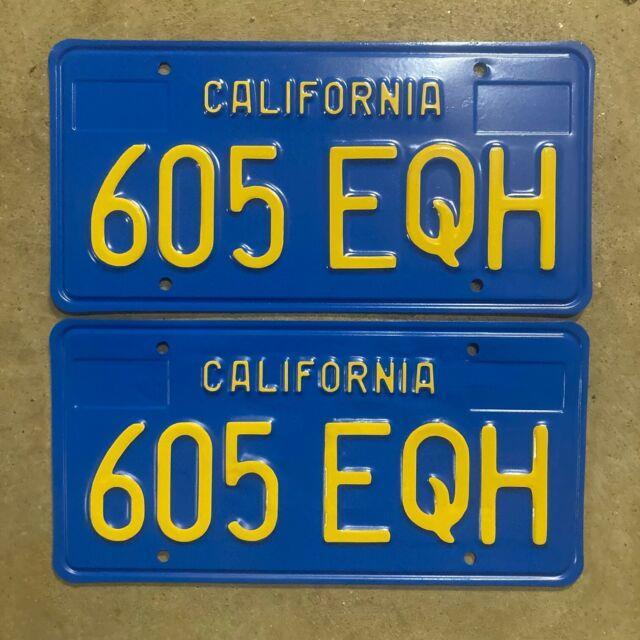 1970 California License Plate Pair 605 Eqh Yom Dmv Clear Sticker Ford Chevy 1971