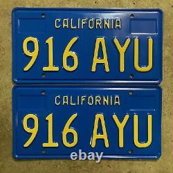 1970 California license plate pair 916 AYU YOM DMV clear sticker Ford Chevy
