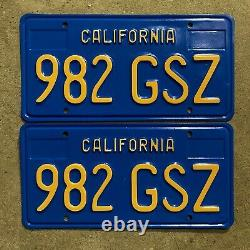 1970 California license plate pair 982 GSZ YOM DMV clear sticker Ford Chevy 1972