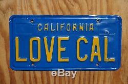 1970'S 1980'S LOVE CALIFORNIA Vanity License Plate LOVE CAL