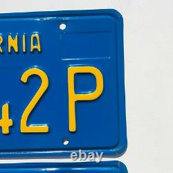1970's California Blue Commercial License Plates DMV Clear YOM 1973 Validation