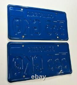 1970's California Blue License Plates 1970 era Month Validation Sticker 555 GKQ