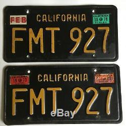 1970's California License Plate PAIR Black Plates All Original 1963 1960's