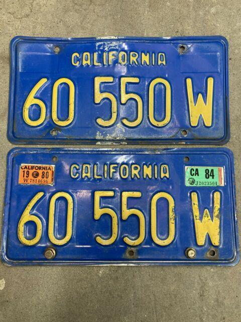 1970s Blue California License Plates Dmv Clear Yom Beautiful 1980 Rare