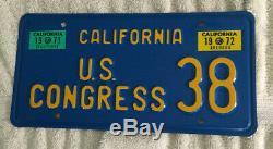 1971-72 California License Plate (U. S. CONGRESS 38)nice