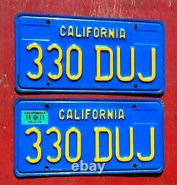 1971 California Nice Original PAIR 330 DUJ License Plates