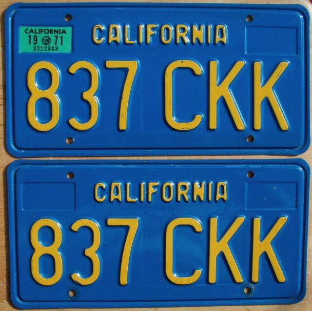 1971 Natural California License Plate Pair 1970-87 Series Ca #837-ckk Stunning