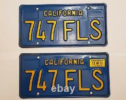 1972 California license plate nice pair 747 FLS NR