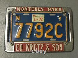 1972 NY Ed Kretz & Son Monterey Park California Motorcycle License Plate Frame