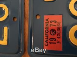 1973 California License Plate Pair Original Paint