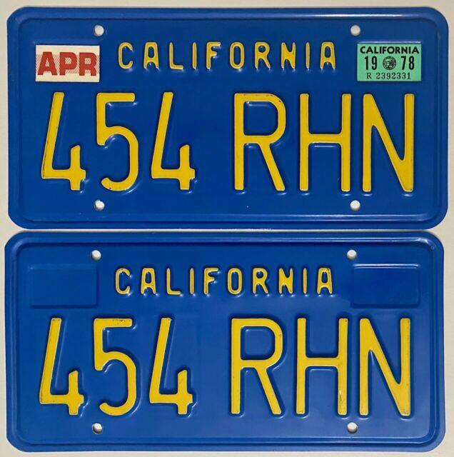 1978 California License Plate Pair Ca 1970-87 Series #454-rhn - Rocket 454