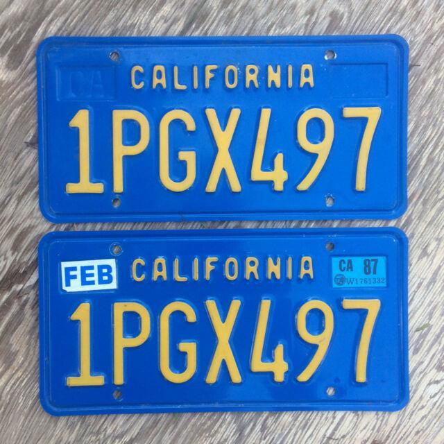 1980 California License Plate Pair 1pgx497 Yom Dmv Clear Sticker Ford Volkswagen
