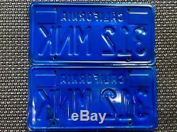 1983 California License Plates Pair DMV Clear. Blue And Yellow 1970s Base